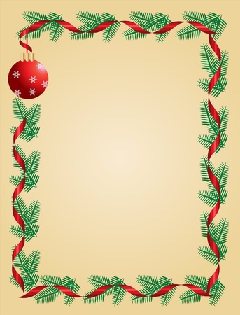 Christmas wreath with red ribbon and ball. greeting card template Illustration