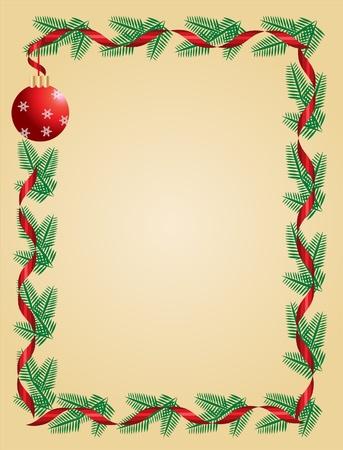 christmas template: Ghirlanda di Natale con nastro rosso e palla. card template auguri Vettoriali