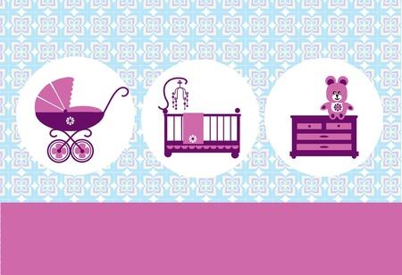new born, baby birthday card, vector illustration Vector