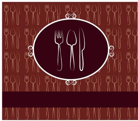 cubiertos de plata: tenedor, cuchara, cuchillo. dise�o de men� de restaurante plantilla
