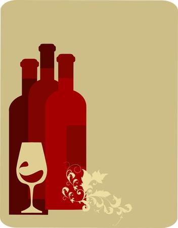 wijn en spijzen: retro illustratie van drie flessen wijn en glazen. vectorillustratie