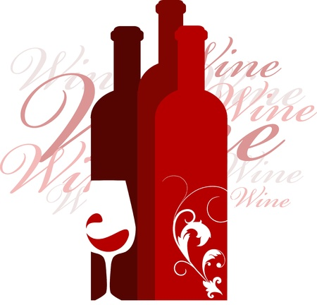 bottle of wine: wine and glass vector design template, vector illustration