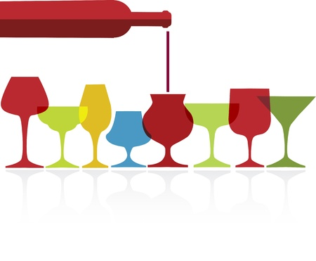 pour of wine into wine colorfull glasses on white background Illustration