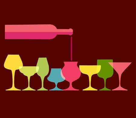 grunge bottle: pour of wine into wine colorfull glasses, vector illustration