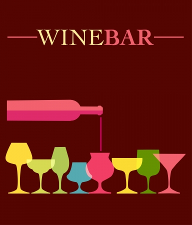 wineglasses: pour of wine into wine colorfull glasses, vector illustration