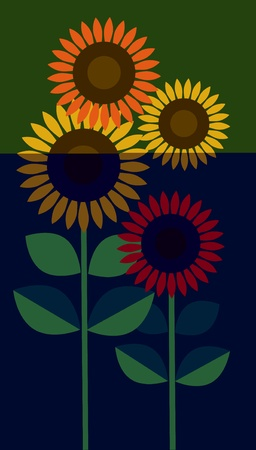 three yellow Sunflowers on green background, vector illustration Vector