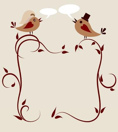 약혼: 두 조류의 결혼식 초대장 템플릿.