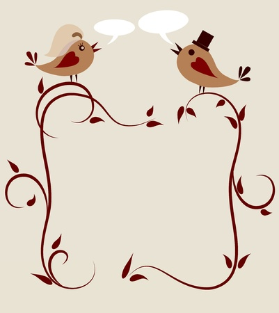 modèle d'invitation de mariage de deux oiseaux. Vecteurs