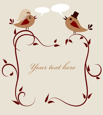 honeymoon: wedding invitation template of two birds .