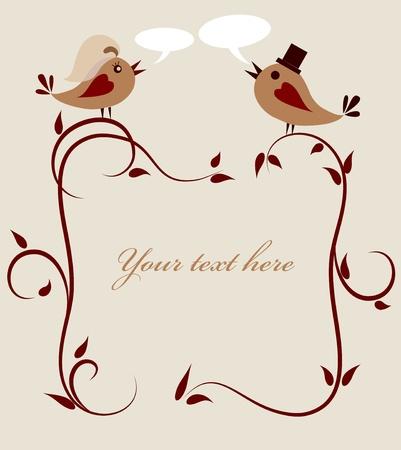 wedding invitation template of two birds . Vector