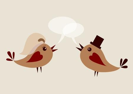 groom bird and wife bird, vector illustration Vector