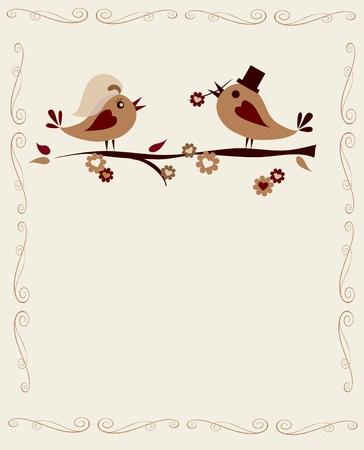 getrouwde vogels op een tak op wit, uitnodiging sjabloon Vector Illustratie