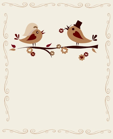 married birds on a branch on white, invitation template