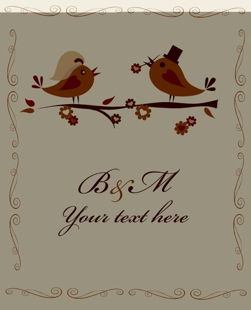 married birds on a branch on white, invitation template Vector