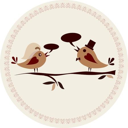 honeymoon couple: Pattern for wedding invitation with birds, vector illustration Illustration