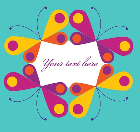 abstract frame of colorful buterflies, vector illustration