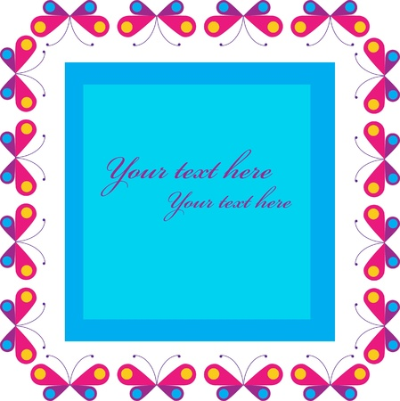 frame of colorful buterfies, vector illustration Vector
