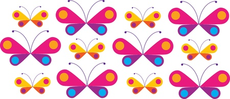 teal background: colorful butterfles in line Illustration