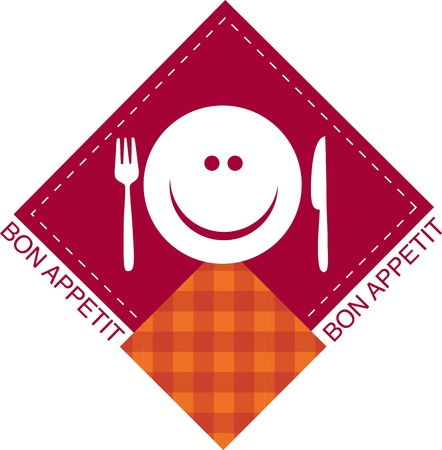 menu template of smiling cook with fork and knife