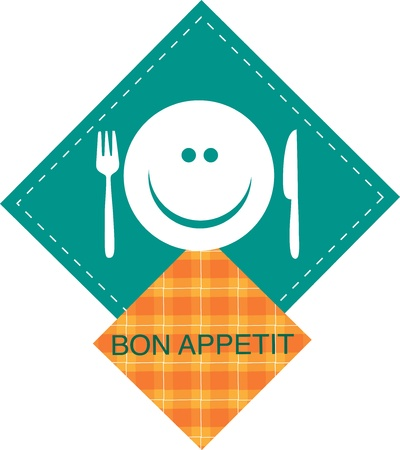 breakfast smiley face: menu template of smiling cook with fork and knife