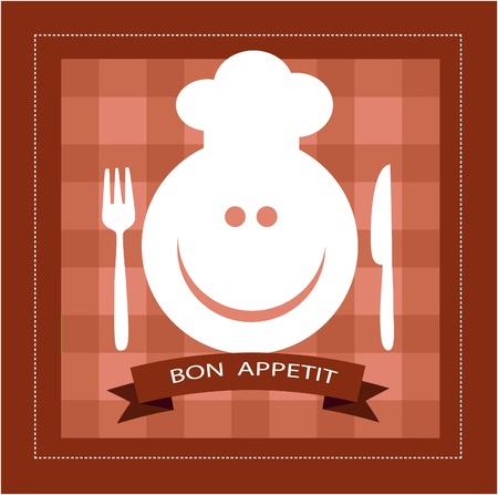 smiling cook with fork and knife Vector