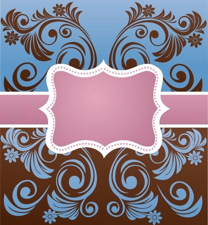 mirror image: retro floral frame  Illustration