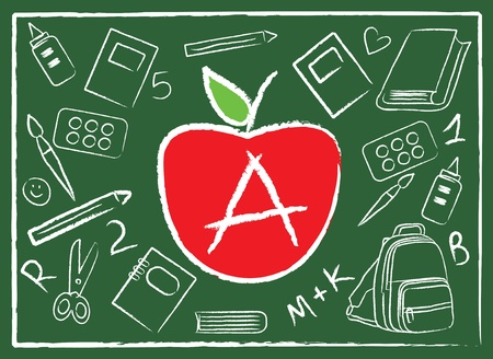 chalk board: apple in the middle of school colorful accessories on green