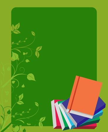 school books on green board background, vector illustration Vector