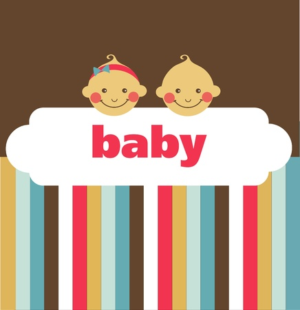newborns: retro newborn baby card with boy and a girl , vector illustration