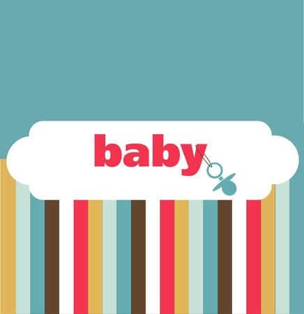 baby scrapbook: retro newborn baby card, vector illustration