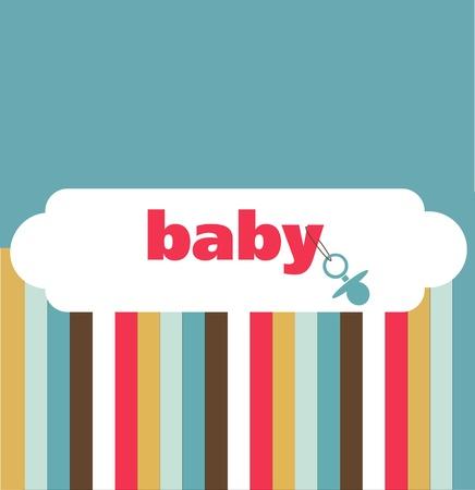 pacifier: tarjeta de retro recién nacido, ilustración vectorial