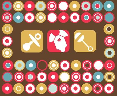 babero: accesorios bebé plantilla de tarjeta de 4, ilustración vectorial