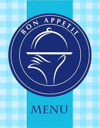 bandeja de comida: mano que sostiene una bandeja de comida, plantilla de men�, ilustraci�n vectorial