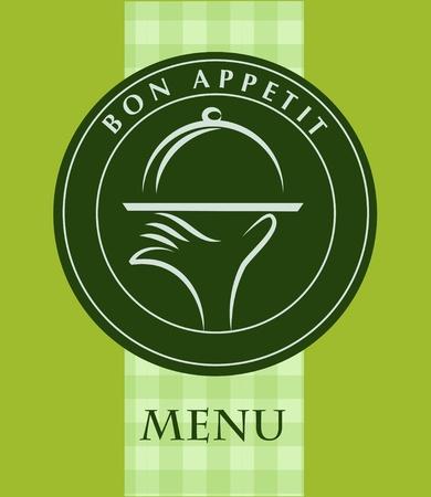 serveur avec plateau: main tenant un plateau de la nourriture, le mod�le de menu ; illustration vectorielle