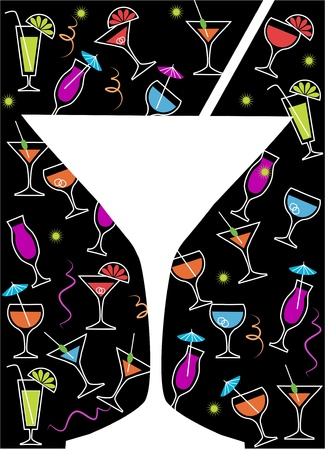 drink party: bicchiere da cocktail bianco su drink o un cocktail di raccolta, illustrazione vettoriale