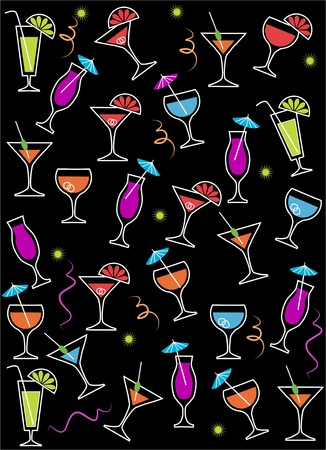 drink or cocktail collection isolated on a blackbackground . Vector