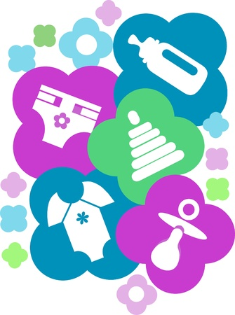 sonaja: accesorios de bebé colorido, plantilla de tarjeta Vectores