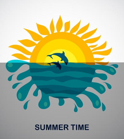 sunny view of two jumping dolphins, vector illustration Vector