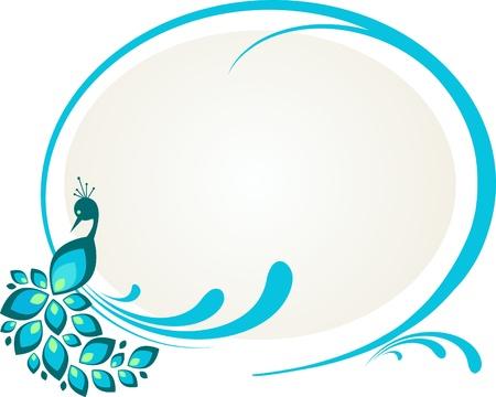 plumas de pavo real: Ilustración del pavo real sentado sobre marco floral Vectores