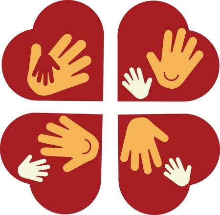 papa y mama: coraz�n con las manos del ni�o y las manos de adultos