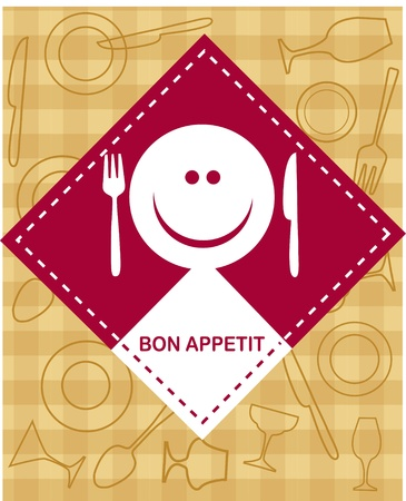 happy smiley face with fork and knife Vector