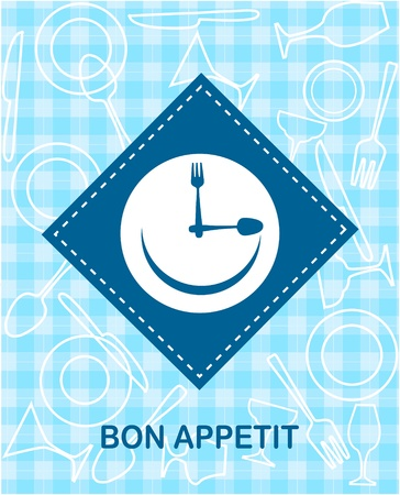 happy smiley clock with fork and knife Vector