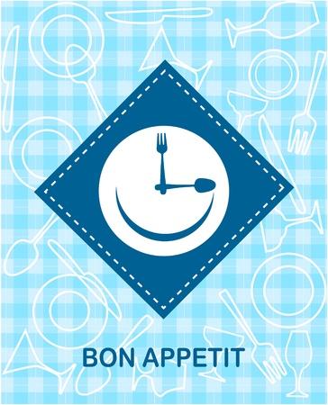 smiley content: horloge smiley heureux avec fork et couteau