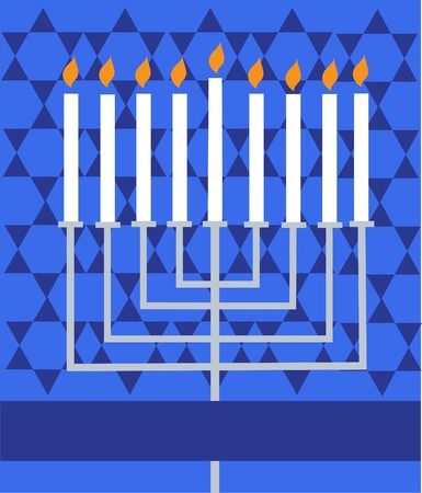 hanukah: Holiday Hanukkah; lighted Menorah