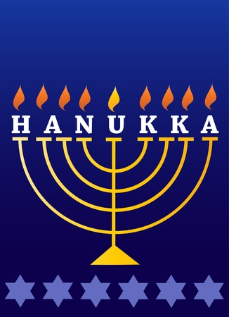 Holiday Hanukkah; lighted Menorah Vector