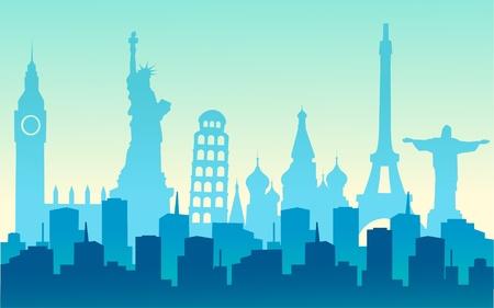 viaje de negocios: ciudades del mundo Vectores