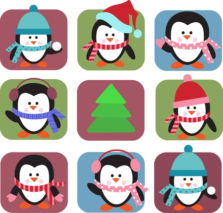 cartoon penguin: set of holiday penguins