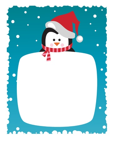 cartoon penguin: Penguin on snowy background