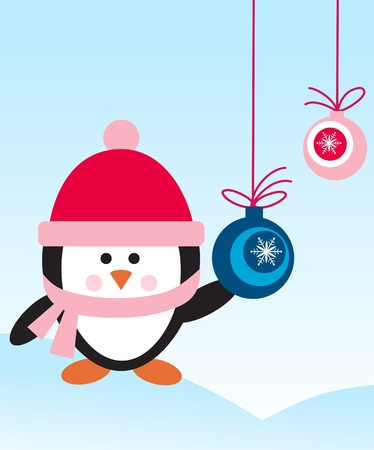 Penguin with hat and scarf with decaration balls Vector