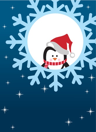 penguin on snowflake background Vector